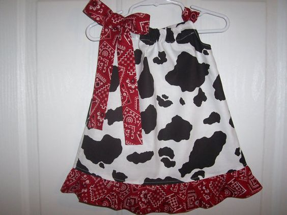 Pillowcase cowgirl dress red bandana infant by RaDzaeDezynes, $14.00