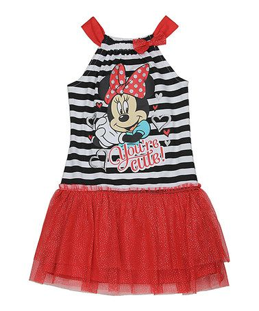 Another great find on #zulily! Red Minnie Mouse Stripe Tutu Dress - Girls #zulilyfinds
