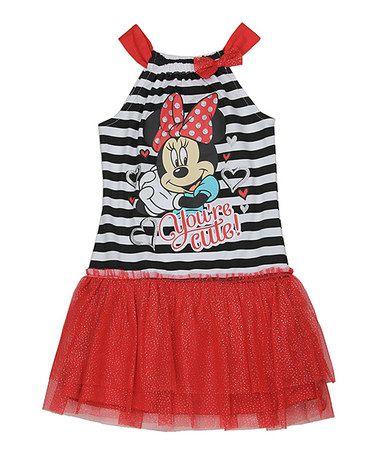 Another great find on #zulily! Red Minnie Mouse Stripe Tutu Dress - Girls #zulilyfinds
