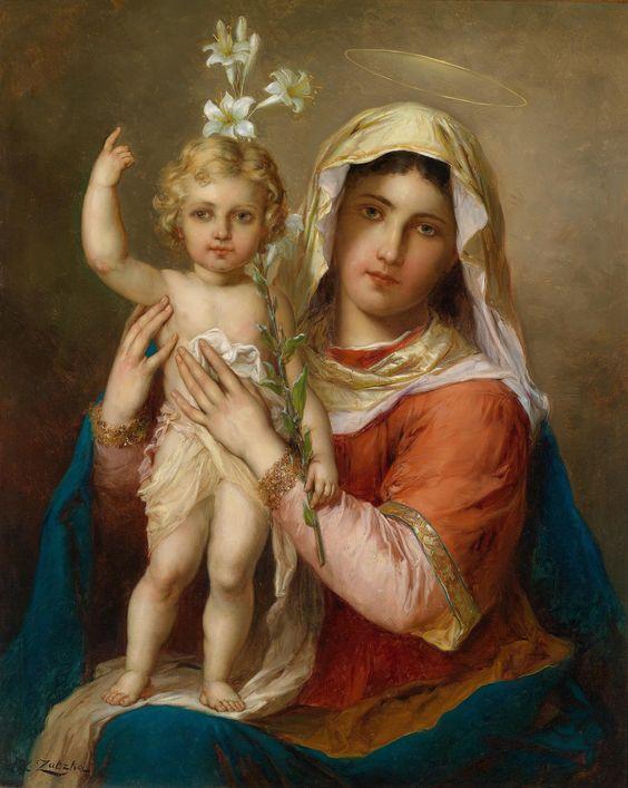 Hans Zatzka aka Johann Franz Čačka (Zabateri, P. Ronsard, Joseph Bernard & Bernárd Zatzka)  —  Madonna with Child (1859-1945)  (2405x3017):