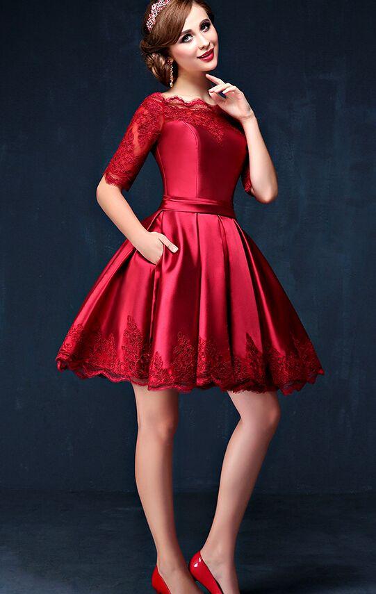 Hd09012 Charming Homecoming DressSatin DressLace DressHalf Sleeve Dress