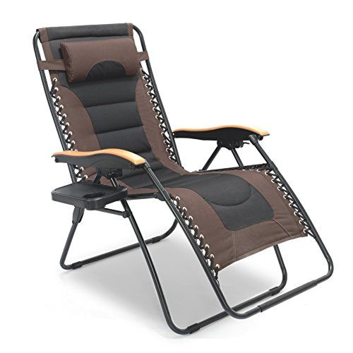 Luckyberry Deluxe Oversized Padded Zero Gravity Chair Xl Black Brown With Cup Holder Lounge Patio Chair Zero Gravity Chair Outdoor Chairs Zero Gravity Recliner