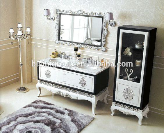 Vintage doble lavabo del baño vanidad con marmol superior, antiguos muebles de baño morror, mueble de baño (BF08-4258)-imagen-Tocadores de Baño-Identificación del producto:60036498779-spanish.alibaba.com