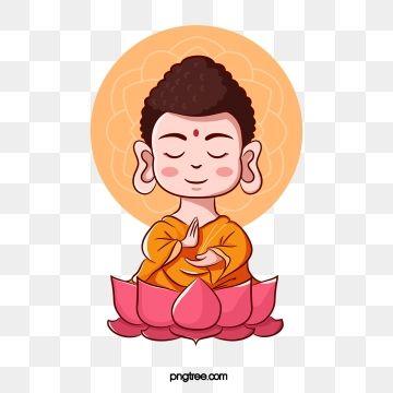 Hand Painted Cute Cartoon Little Buddha Buddhism Buddhas