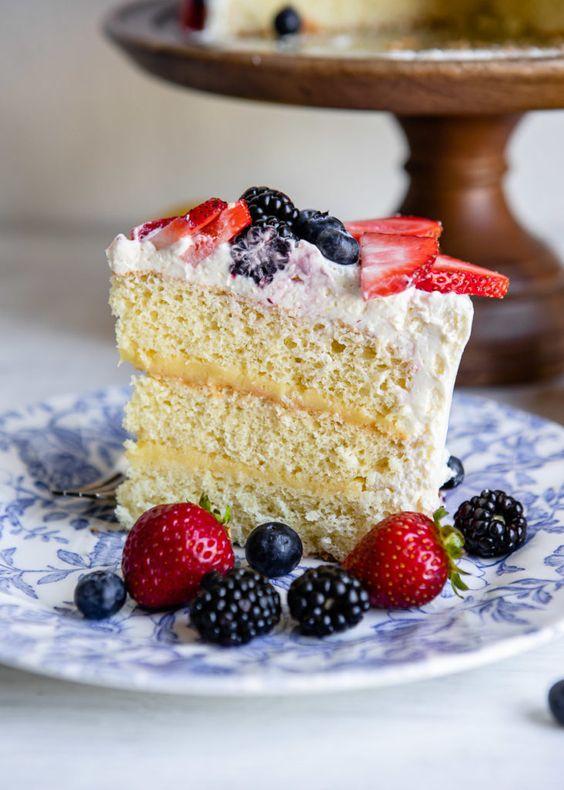 Lemon Chiffon Cake with Berries for Easter Sunday Dinner