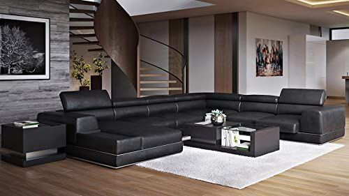 The Zuri Furniture Wynn Black Leather Sectional Sofa Adjustable Headrests Left Chaise Online Shopping Prettytrendyfashion In 2020 Leather Couches Living Room Leather Sectional Leather Sectional Sofa