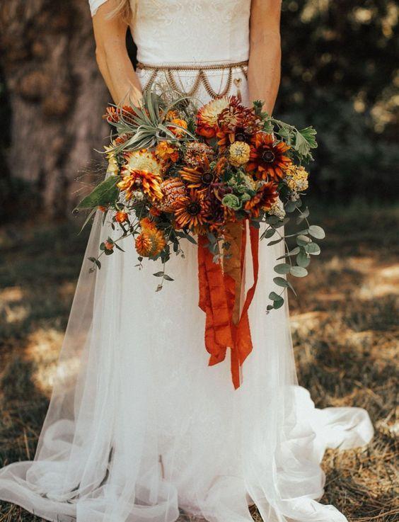 Rust Wedding Flower Bridal Bouquet For Fall Sunflower Wedding Bouquet Bridal Bouquet Flowers Red Sunflower Wedding