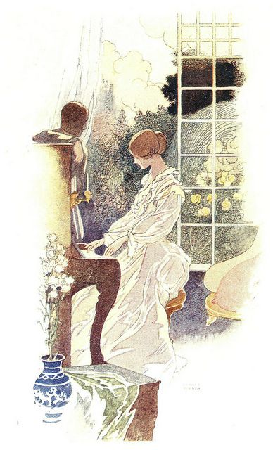 Illustration by Charles Heat Robinson for The Open Window by E. Temple Thurston. Second Edition. 1915