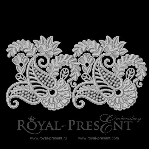 Stand Alone Lace Embroidery Designs : Machine embroidery design lace border royal present
