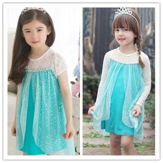 Disney Frozen Girl's Anna Elsa Tulle Lace dress Trendy skirts kids child costume: