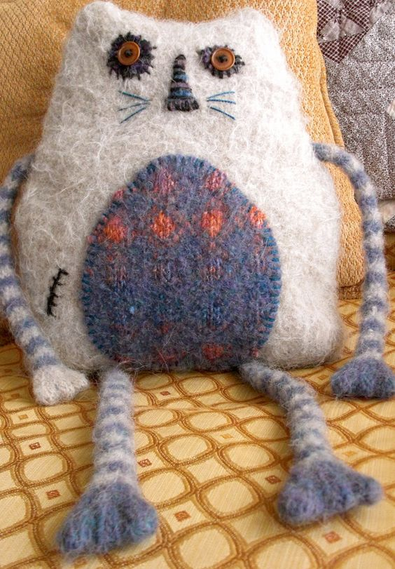 Striped Bad Cat Pajama PJ Bag Pillow, Alpaca/Wool, Vintage Button Eyes. $56.00 USD, via Etsy.