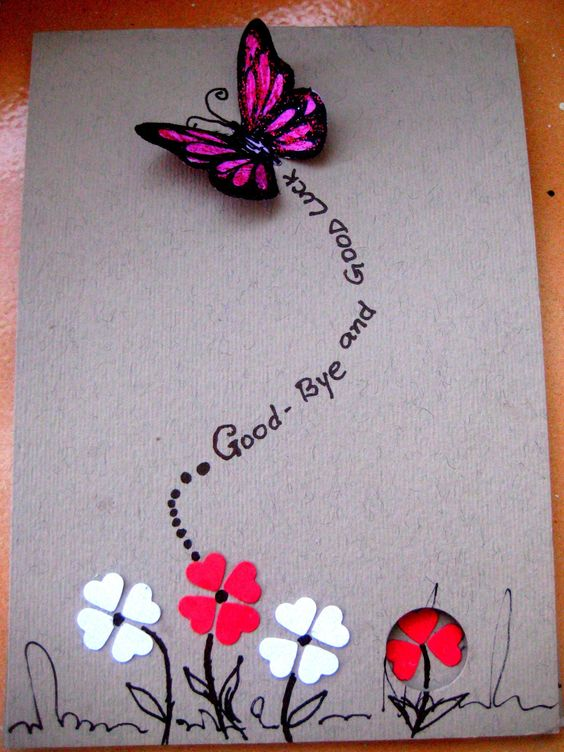Handmade Birthday Greetings For Love Hand Made Greeting Guides Farewell Cards Card Design Handmade Goodbye Cards
