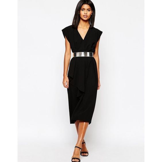 ASOS Asymmetric Contemporary Midi Dress With Belt ($70) ❤ liked on Polyvore featuring dresses, black, asymmetrical dress, wrap skirt, belted dress, metallic dress and dress with belt