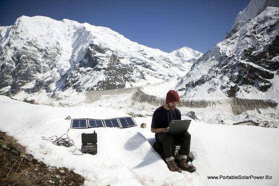 Portable Solar Generator Powering Laptop