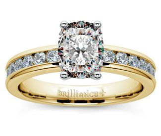 Cushion Channel Diamond Engagement Ring in Yellow Gold  http://www.brilliance.com/engagement-rings/channel-round-diamond-ring-yellow-gold-1/2-ctw