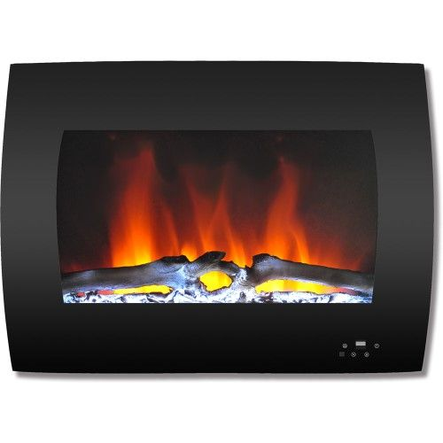 Cambridge 26 Curved Wall Mount Electric Fireplace Heater With Multi Color Led Flames And Driftwood Log Display Wall Mount Electric Fireplace Electric Fireplace Wall Mounted Fireplace