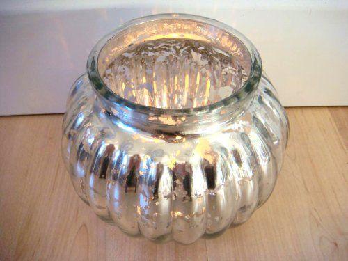 Windlicht aus Glas rund Teelichthalter Kugelwindlicht silber x-Mas ...