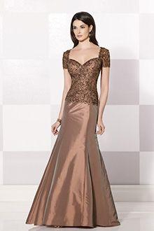 Sereia Coração Chão-comprimento Tafetá Vestidos para Mãe da Noiva