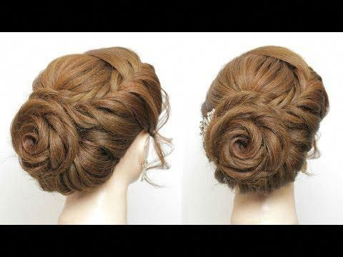 Rose Hairstyle For Long Hair Prom Wedding Braided Flower Updo Youtube Promhairstylesforlonghair Long Hair Styles Bun Hairstyles For Long Hair Hair Styles