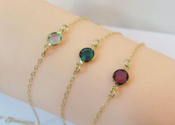 Gold Birthstone Bracelet 14K Gold Filled by LindasJewelryShopLLC
