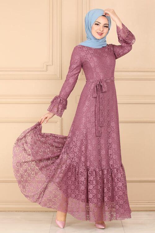 Modaselvim Elbise Etegi Firfirli Dantel Elbise 5171ay342 Gul Kurusu Model Baju Wanita Pakaian Wanita Pakaian Pesta