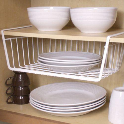 Store And Organize Plates In This Under The Shelf Basket Made From A Vinyl Coated S Shelf Baskets Storage Apartment Kitchen Organization Kitchen Organization