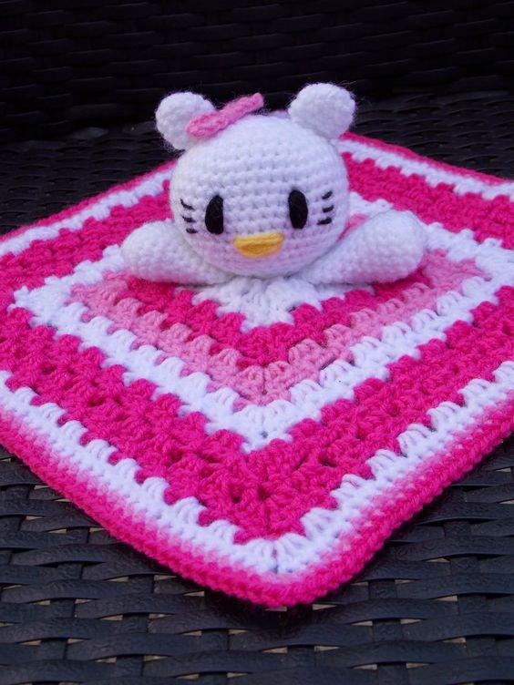 Patroon Hello Kitty knuffeldoekje (Renates haken en zo) Patterns, Blan...