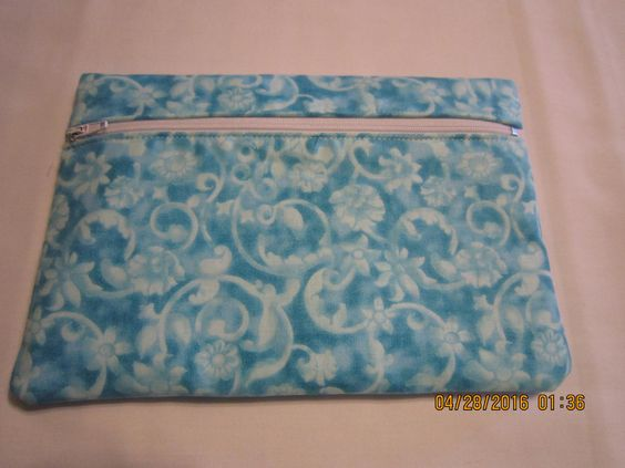 "8"" Cosmetic Bag / Make Up Bag / Pencil Pouch - TURQUOISE Tonal Scroll by ShawnasSpecialties on Etsy"