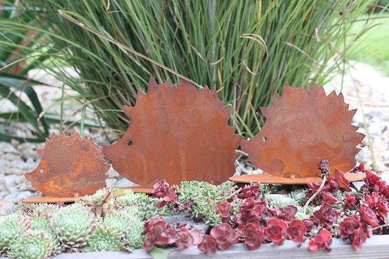 Rostikal   Herbstdeko Igel Figuren   Rost Dekofiguren für Garten und Wohn Herbst Dekoration   3er Set : Amazon.de: Garten