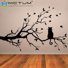 Gato em longas ramo de árvore pássaros Anime parede Poster DIY vinil adesivos de parede arte do decalque janela da cozinha adesivos de parede Home Decor mariposas spanish vinilos vinilo decorative poster (China (Mainland))