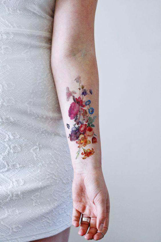 Beautiful large vintage floral temporary tattoo - Tattoorary