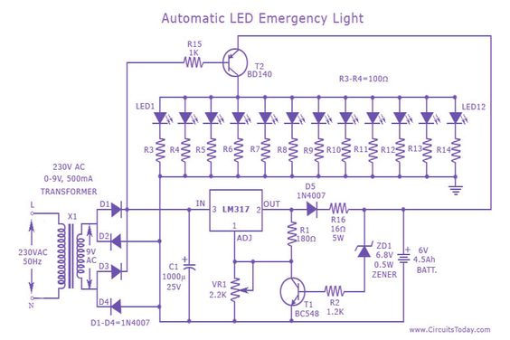 8405e5144427f7a441147d672f80417f electronics projects diy electronics led emergency light circuit electronics pinterest emergency emergency light wiring diagram maintained at soozxer.org