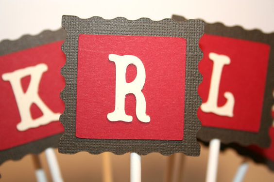 Cupcake toppers Monogram pick your letter on by Vandicrafts