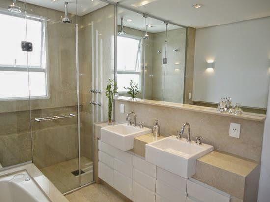 Top 10 Banheiros Modernos Pequenos e Grandes para nos Inspirar!  Tops -> Banheiro Pequeno E Moderno
