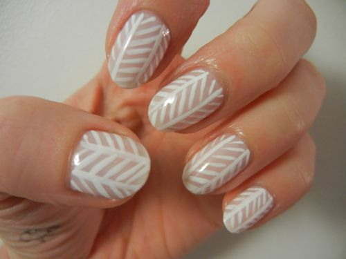 Nude and White Herring Bone Nails