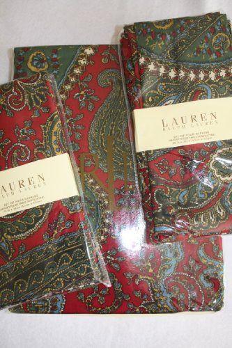 """Ralph Lauren Bridgette Paisley 60"""" X 84"""" Oblong Tablecloth + 8 Napkins"""