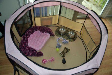 "Amazon.com: Pink 45"" Pet Puppy Dog Playpen Exercise Pen Kennel 600d Oxford Cloth: Pet Supplies"