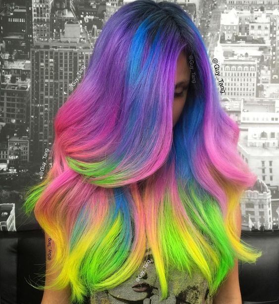 """#unicorn hair don't care! ❤️ Who wants #rainbow hair? Watch my YouTube video of her transformation"""