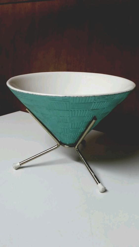 vintage mid century modern atomic candy dish bowl starburst metal stand. auqua…
