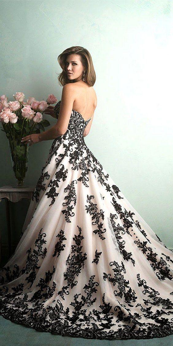 Allure bridals black and white lace wedding dress / http://www.himisspuff.com/black-wedding-dresses/2/