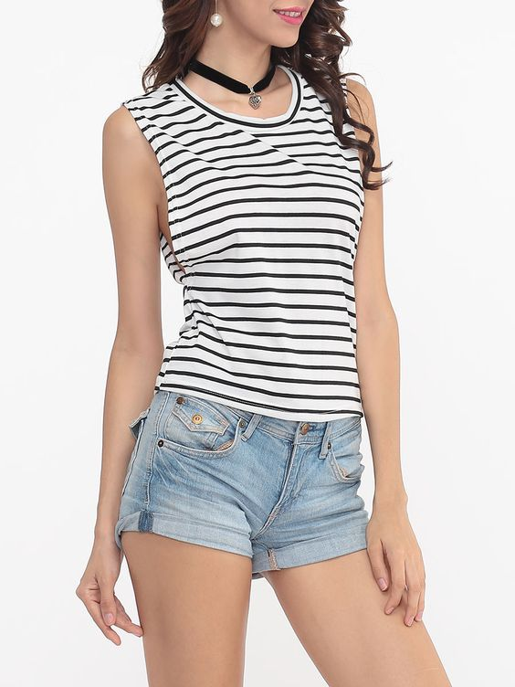 Striped Sexy Round Neck Sleeveless-t-shirts