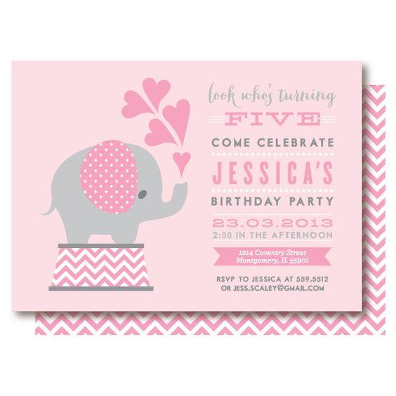 Pink Elephant Birthday Invitations   Pink, Etsy and Invitations