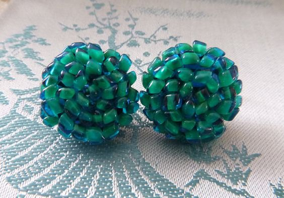 50s 60s Aqua Bead Cluster Earrings by PopcornVintageByTann on Etsy