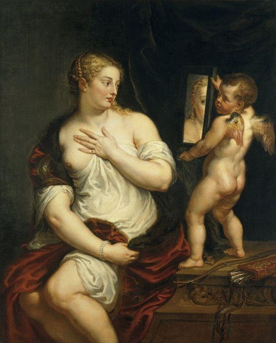 Venus del espejo de Peter Paul Rubens, 1608. Copia de la Venus de Tiziano hecha por Rubens y enviada a Felipe II