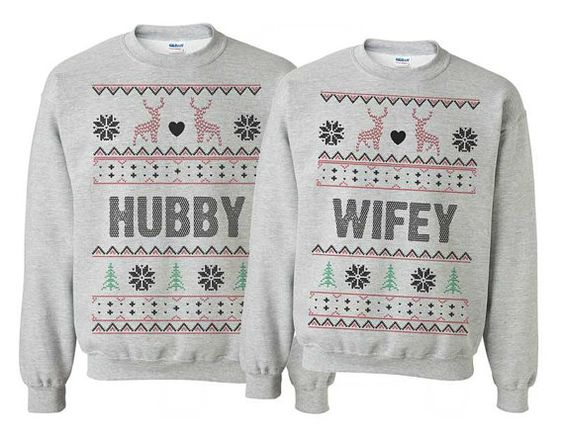 hubby wifey couple sweatshirts for christmas. Ugly Christmas Sweater ...
