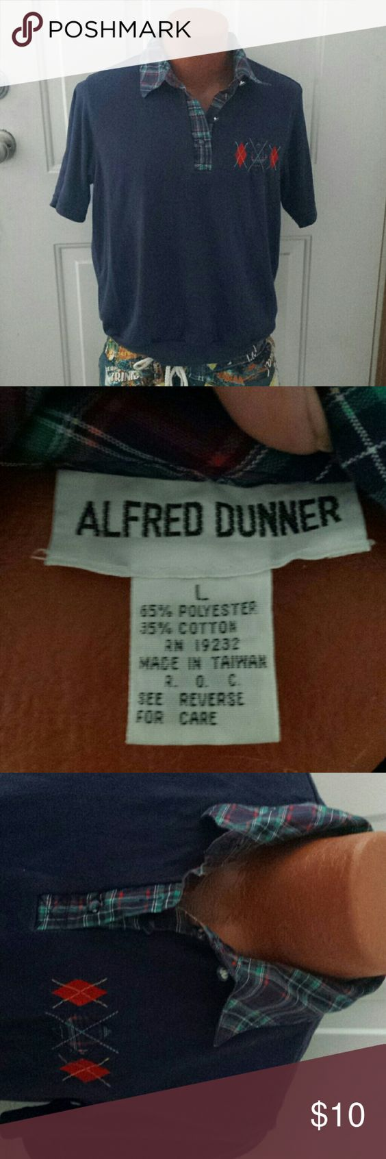 Alfred Dunner Navy Banded Bottom Collared T-shirt Navy T-shirt with banded bottom,  plaid collar with short placket and fabric covered buttons. Diamond accent on left chest. Cotton/poly blend. Lightly worn. Alfred Dunner Tops Tees - Short Sleeve