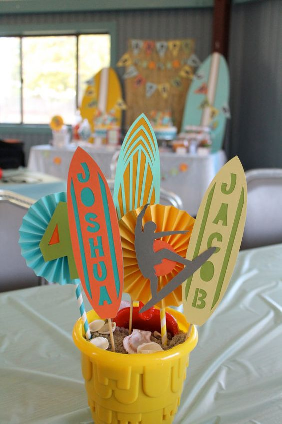 beach party centerpiece / surfer party by MadeWithLoveByRO on Etsy