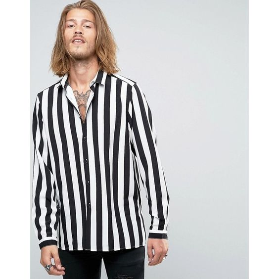 ASOS Viscose Shirt In Monochrome Stripe ($38) ❤ liked on Polyvore featuring men's fashion, men's clothing, men's shirts, men's casual shirts, black, asos mens shirts, mens striped shirt, men's regular fit shirts, mens rayon shirts and mens woven shirts