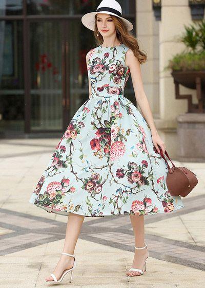 Vestido Sem Manga Floral   Vestidos estilosos, Vestidos