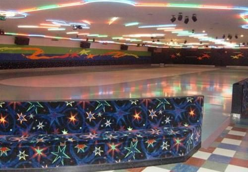 Roller skating rinks. This almost looks like I remember Baypoint!  Then there were the circle ottomans with the same fabric around the outside
